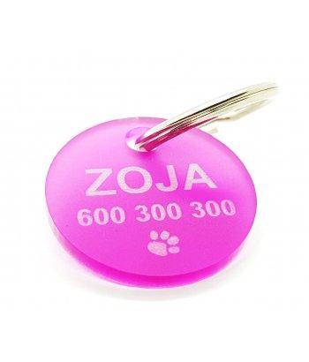 Adresówka dla psa lub kota szkło akrylowe fuksja lub różowy / wzory